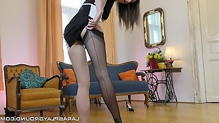 Alluring maid tempting her boss by fingering her pink pussy sexily