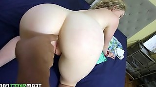 Pretty amateur Willow Lynn gets down to black cock