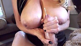 Big natural tits cowgirl cherishing long dick with handjob
