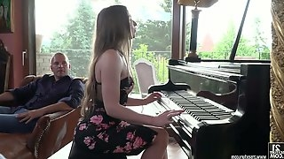 Sexy Russian pianist Nicole Pearl hooks up with two well endowed guys