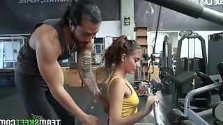 Fitness chick Evelyn Suarez is fucked hard by hot blooded tattooed coach