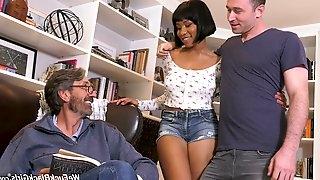 Big tittied ebony chick Jenna Foxx is fucked by boyfriend and his stepdad