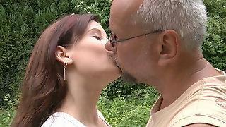 Slender brunette hooker gets her sweet pussy banged missionary style