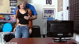 Young busty Eliza Eves is fucked for shoplifting by horny security guy