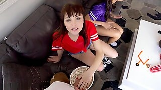 Watching the game with two petite horny teen sluts