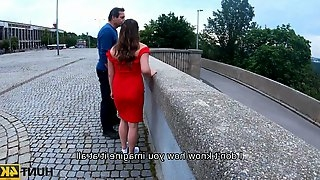 HUNT4K. Sweet pale-skinned lady in red dress gets fucked in front of her dadd