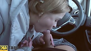 Slutty teen Calibri Angel gives a blowjob in the car and gets fucked indoor