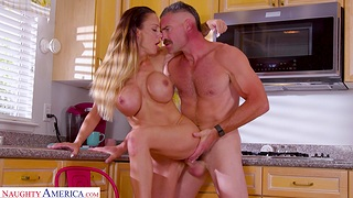 Cum on boobs ending after wild fucking in the cookhouse - McKenzie Lee