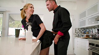 Small soul hottie Aiden Ashley gets fucked hard in the kitchen