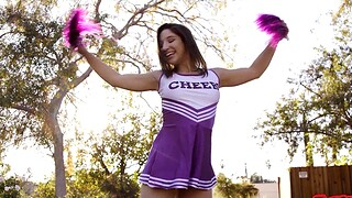 Miserable cheerleader Abella Danger enjoys riding a huge penis