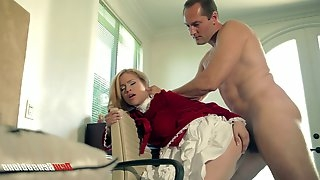 A pretty younger chick hooks up with an older guy for some action